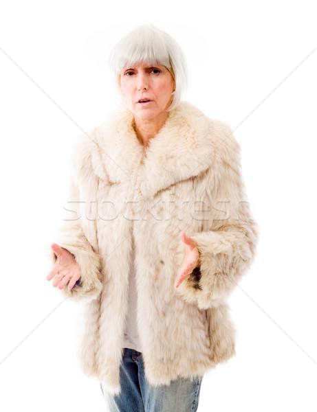 Senior mulher gesto retrato comunicação Foto stock © bmonteny