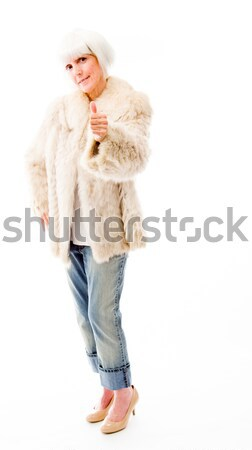 Senior mulher assinar retrato Foto stock © bmonteny