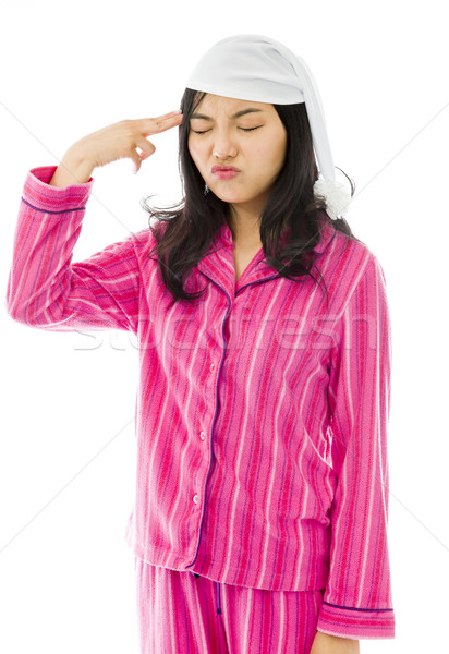 Young Asian woman shooting herself in head Stock photo © bmonteny
