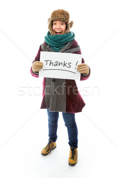 Fiatal nő meleg ruha mutat köszönet felirat fehér Stock fotó © bmonteny