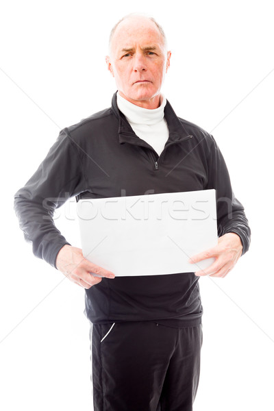 Senior man tonen communicatie witte Stockfoto © bmonteny