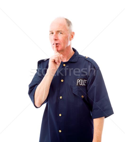 Rendőr ujj ajkak férfi kék rendőrség Stock fotó © bmonteny