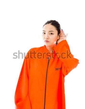 Młodych asian kobieta frustracja uniform Zdjęcia stock © bmonteny