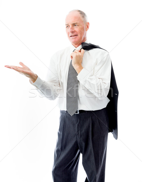 Businessman showing product with open hand palm Stock photo © bmonteny