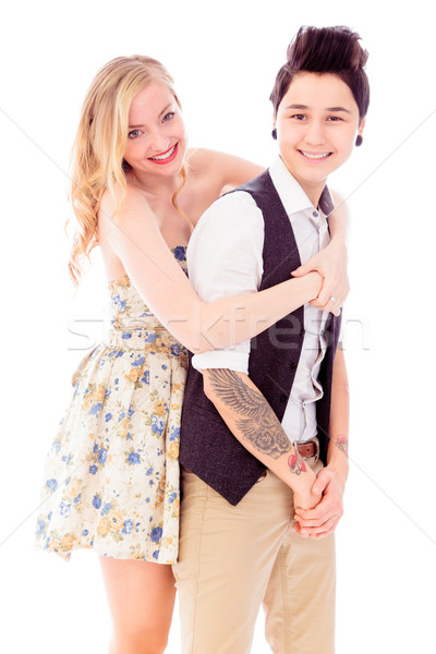 Leszbikus pár átkarol szeretet kéz a kézben mosolyog Stock fotó © bmonteny