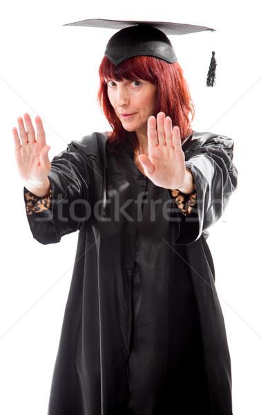 érett diák készít stop kézmozdulat felirat Stock fotó © bmonteny