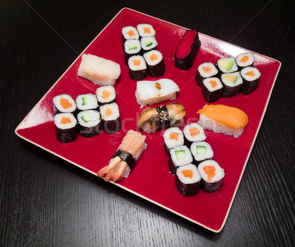 Photo stock: Sushis · servi · plaque · dîner · rouge · manger