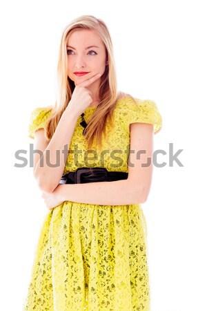 Mooie jonge vrouw permanente hand kin jurk Stockfoto © bmonteny
