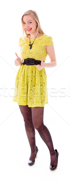 Beautiful young woman showing thumbs up sign with both hands Stock photo © bmonteny
