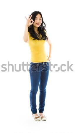 Fiatal ázsiai nő készít keret ujjak Stock fotó © bmonteny