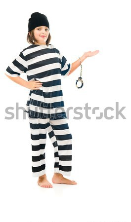 Young Asian woman with finger on chin in prisoners uniform Stock photo © bmonteny