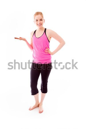 Young woman showing something Stock photo © bmonteny
