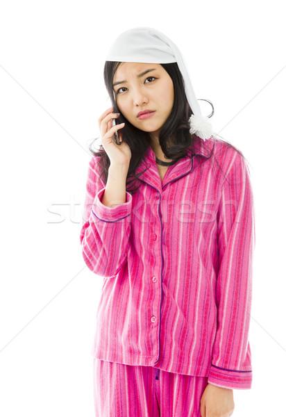小さな アジア 女性 話し 携帯電話 見える ストックフォト © bmonteny