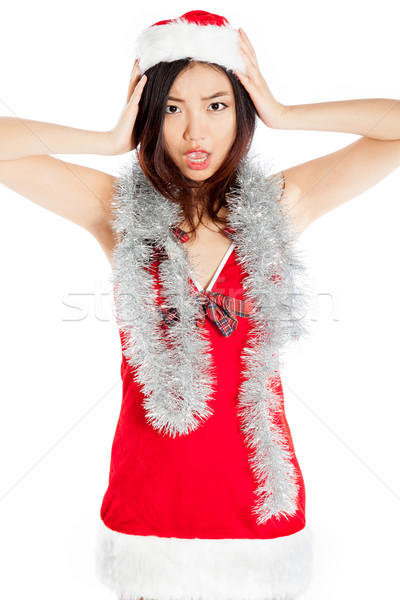 Stock photo: Sexy asian santa claus scared with a garland