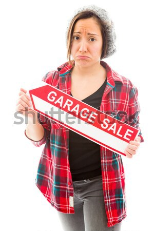 Young woman showing help wanted sign Stock photo © bmonteny
