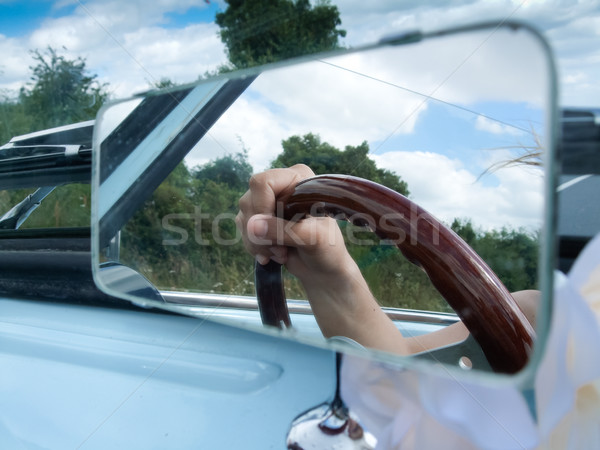 Reflexão mão espelho carro humanismo condução Foto stock © bmonteny