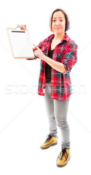 Young woman showing clipboard Stock photo © bmonteny