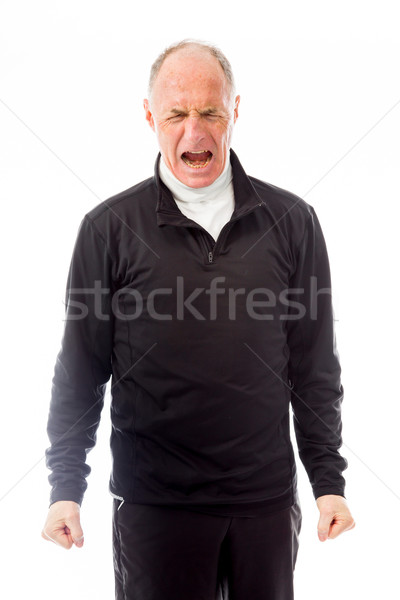Senior man screaming in frustration isolated on white background Stock photo © bmonteny