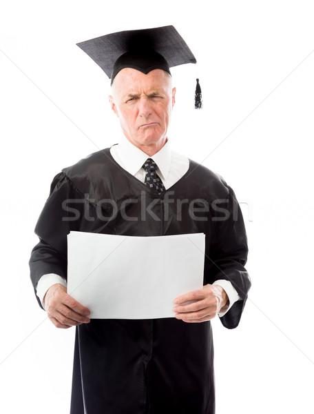 Senior mannelijke afgestudeerde papier onderwijs Stockfoto © bmonteny