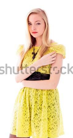 Gyönyörű fiatal nő áll keresztbe tett kar portré ruha Stock fotó © bmonteny