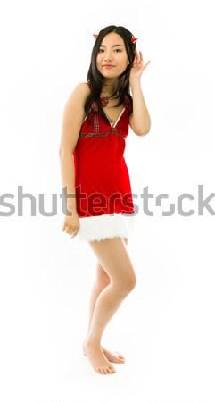 Sexy asian babbo natale sconvolto punta up Foto d'archivio © bmonteny