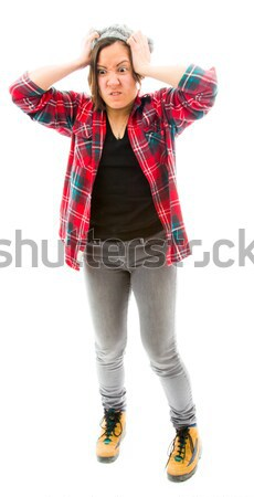 Young woman making frame with fingers Stock photo © bmonteny