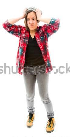 Fiatal nő készít keret ujjak fiatal felnőtt kaukázusi Stock fotó © bmonteny