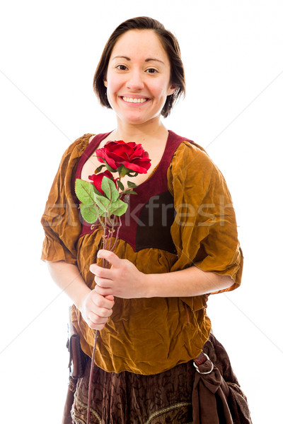 Young woman smiling with holding red rose Stock photo © bmonteny