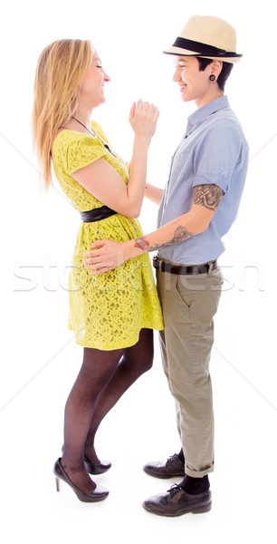Lesbiche Coppia scarpa abito romance panoramica Foto d'archivio © bmonteny