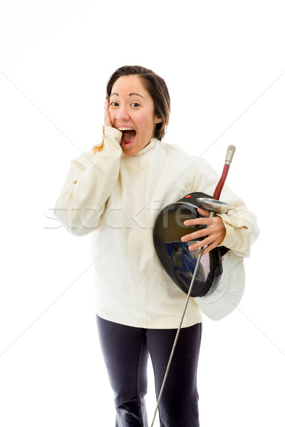 Female fencer looking excited Stock photo © bmonteny