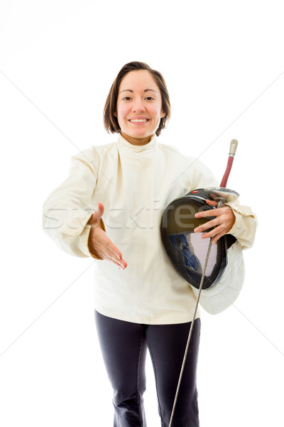 Female fencer offering hand for handshake Stock photo © bmonteny