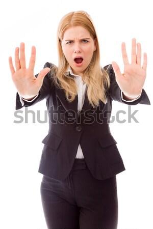 Jonge vrouw stoppen gebaar teken Stockfoto © bmonteny