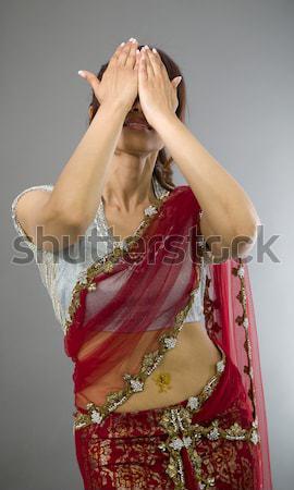 Fiatal indiai nő arc kezek felnőtt Stock fotó © bmonteny