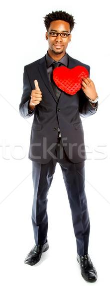 Séduisant homme d'affaires posant studio isolé blanche Photo stock © bmonteny