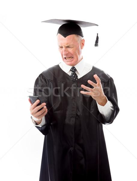 сердиться старший мужчины выпускник кричали мобильного телефона Сток-фото © bmonteny