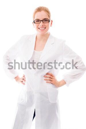 Stock fotó: Női · tudós · mutat · plakát · fiatal · felnőtt · kaukázusi