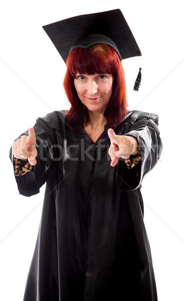 Volwassen student wijzend beide handen vrouw Stockfoto © bmonteny