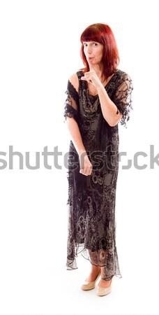 Olgun kadın parmak dudaklar kadın ayakkabı elbise Stok fotoğraf © bmonteny