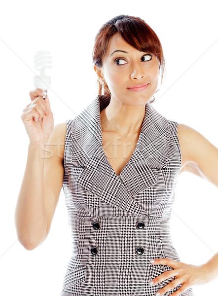 Vonzó indiai nő izolált fehér üzletasszony Stock fotó © bmonteny
