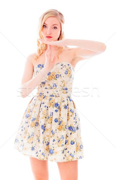 Fiatal nő készít idő ki jel kezek Stock fotó © bmonteny