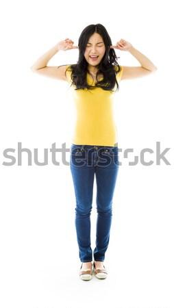 Młodych asian kobieta frustracja dżinsy Zdjęcia stock © bmonteny
