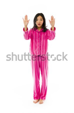 Stock photo: Young Asian woman making stop gesture sign from both hands