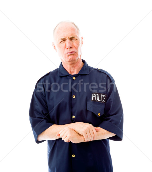 Policeman shivering in cold Stock photo © bmonteny