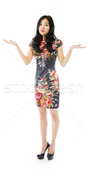 Asian young woman don't know what to do isolated on white background Stock photo © bmonteny