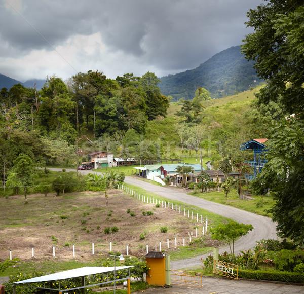 Magasról fotózva kilátás falu Costa Rica fa épület Stock fotó © bmonteny