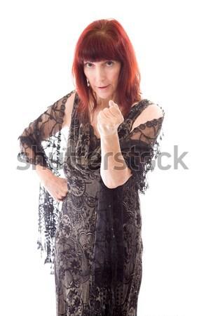Mulher madura em pé mão queixo mulher vestir Foto stock © bmonteny