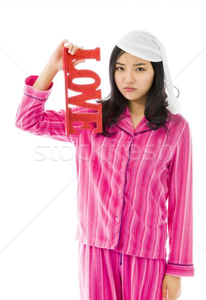 Szomorú ázsiai fiatal nő tart piros szeretet Stock fotó © bmonteny