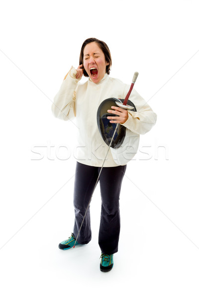 Female fencer with fingers in her ears Stock photo © bmonteny
