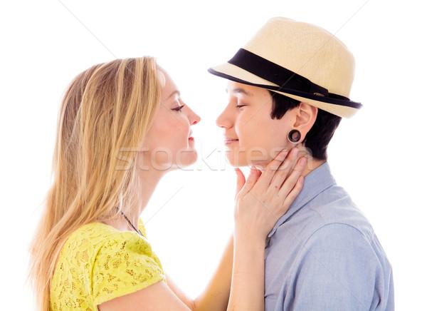 Lesbische paar vriendschap vertrouwen fotografie witte achtergrond Stockfoto © bmonteny