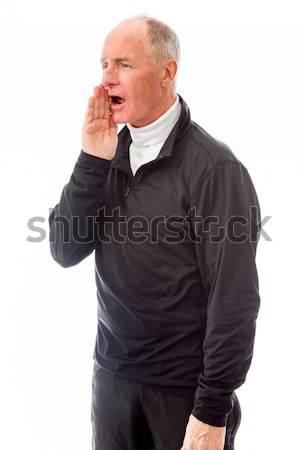 Senior man whispering Stock photo © bmonteny